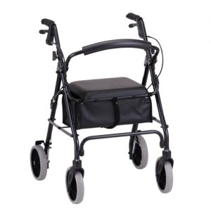 "Nova Zoom 22"" Rollator. Dark green frame. Black accessories, black seat with black basket underneath. 8"" grey rubber wheels. Black handbrakes."