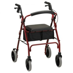 "Nova Zoom 24"" inch rollator. Red Frame with black accessories, black seat, black basket under seat and black handbrakes. Grey 8"" rubber wheels."