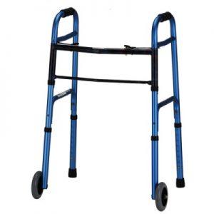 """Nova standard adult walker blue 5"""" wheels folding"""