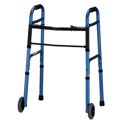 "Nova traditional walker, blue aluminum frame with black accents. 5"" wheels."