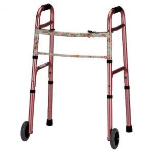 """Nova Rose patterned traditional walker. Rose print on top, pink aluminum on bottom. 5"""" wheels."""
