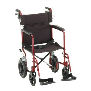 """Nova deluxe transport wheelchair. Blue frame with detachable arms. Black accessories and padding. Grey rubber wheels, 8"""" in front 12"""" in back."""