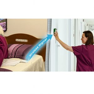 Smart Caregiver Cordless Monitor product photo. Image shows a woman getting of the pressure sensitive pad on the left side of the photo, alerting another woman on the right side of the photo.