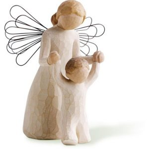 Willow Tree Figurines default image. A female angel stands behind a small boy, holding his hands over his head. Both figures are very non-descript, the willow tree style.