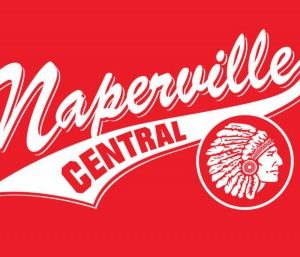 Naperville Central retro team logo. Stylized Naperville Central text over the old redskins logo.