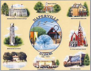 Naperville Heirloom Coverlet photo. A stitched coverlet showing many Naperville landmarks. The riverwalk's covered bridge and dandelion fountain are in the center.