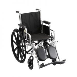 "Nova Standard wheelchair. Black padding, seating and wheels on a silver steel frame. 16"" seat size, extended leg rests."