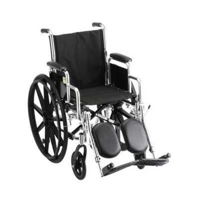 """Nova Standard wheelchair. Black padding, seating and wheels on a silver steel frame. 16"""" seat size, extended leg rests."""