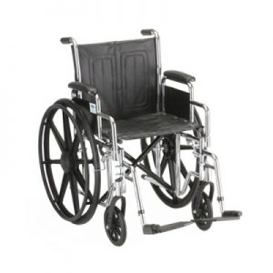 "Nova standard wheelchair. Black padding, seating and wheels on a silver steel frame. 16"" seat size, standard leg rests."