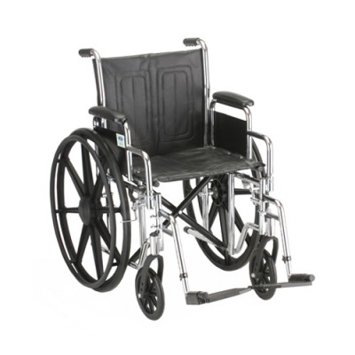 """Nova standard wheelchair. Black padding, seating and wheels on a silver steel frame. 16"""" seat size, standard leg rests."""