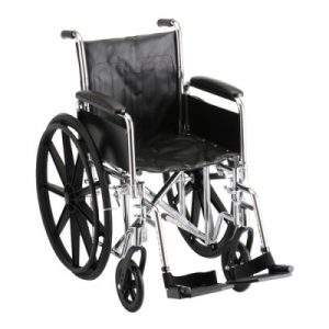 "Nova standard wheelchair. Black padding, seating and wheels on a silver steel frame. 16"" seat, standard leg rests."
