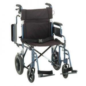 "Nova deluxe transport wheelchair. Blue frame with detachable arms. Black accessories and padding. Grey rubber wheels, 8"" in front 12"" in back."