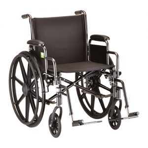 """Nova Standard wheelchair. Hammertone steel frame with black padding and acessories. 20"""" seat, standard leg rests. Detachable arms."""