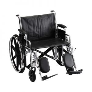 """Nova standard wheelchair. Hammertone steel frame with black padding and acessories. 24"""" seat, extended legrests."""