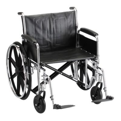 "Nova standard wheelchair. Hammertone steel frame with black padding and acessories. 24"" seat, standard legrests."