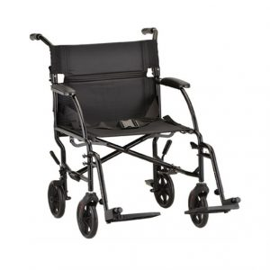 "A Nova 379 Ultra Lightweight Transport Wheelchair in Black. ""Desk"" style armrests allow users to comfortably sit at tables or desks."