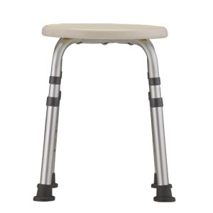 Nova bath stool adjustable. White seat with aluminum, adjustable legs and grey rubber tips.