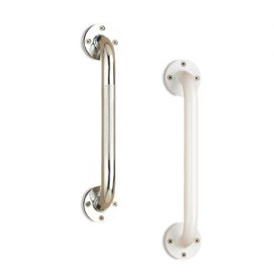 Bathroom safety grab bars screw in safety no slip. A chrome grab bar and ivory grab bar are shown side by side.