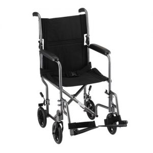 "Transport chair default image. Nova 19"" seat transport chair with a hammertone-colored frame. Black accessories and black 8"" plastic wheels."