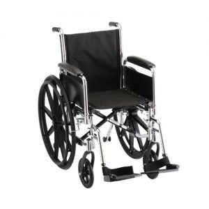 "Nova standard wheelchair. Hammertone steel frame with black padding and acessories. 18"" seat, standard leg rests."