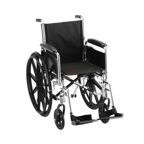 "Nova standard wheelchair. Hammertone steel frame with black padding and acessories. 18"" seat, standard leg rests."