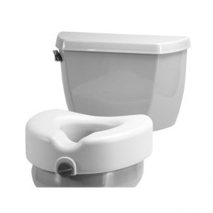 nova locking 5 inch toilet seat no arms. white with a grey locking mechanism. Sitting on a model toilet.
