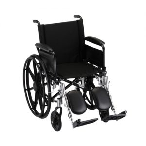 "Nova standard wheelchair. Hammertone steel frame with black padding and acessories. 20"" seat, extended legrests."