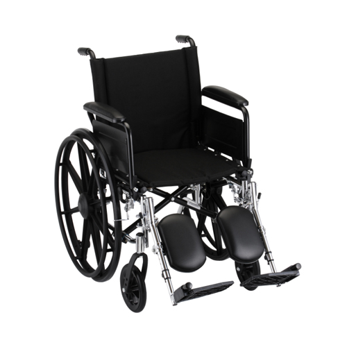"""Nova standard wheelchair. Hammertone steel frame with black padding and acessories. 20"""" seat, extended legrests."""