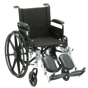"Nova standard lightweight wheelchair. Hammertone steel frame with black padding and acessories. 18"" seat, extended legrests."