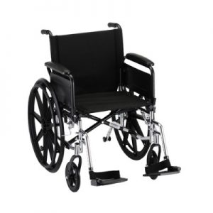 "Nova standard lightweight aluminum wheelchair. Hammertone steel frame with black padding and acessories. 18"" seat, standard legrests."