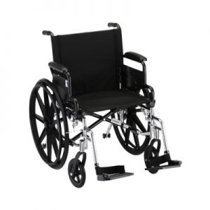 "Nova lightweight aluminum wheelchair. Hammertone steel frame with black padding and acessories. 18"" seat, standard legrests."