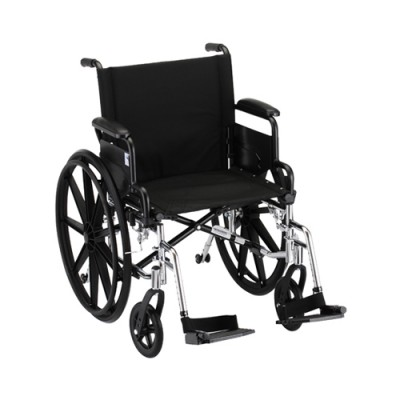 "Nova lightweight aluminum wheelchair. Hammertone steel frame with black padding and acessories. 18"" seat, standard legrests."
