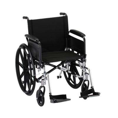 "Nova standard lightweight aluminum wheelchair. Hammertone steel frame with black padding and acessories. 18"" seat, standard legrests."