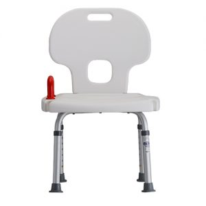 Nova bath safety chair with a red safety handle. White plastic seat, silver aluminum adjustable legs.