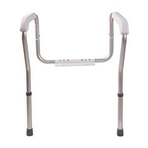 Nova toilet safety rails. Aluminum frame with white plastic plates.