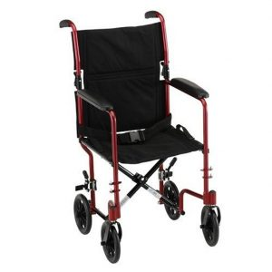 "Nova standard transport wheelchair. Red frame with black seat and accessories. Black 8"" wheels."