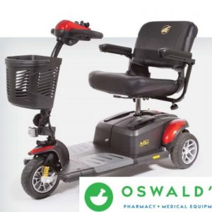 Scooter Rental Category default image. A Golden Buzzaround EX, 3-wheel model in red. The background is white and the Oswald's logo is in the bottom right corner.