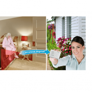 Smart Caregiver Patient Motion Monitor and Pager product page. A side by side picture. The left side is a woman stepping out of bed. Her legs hit the motion sensor trigger area which sends a signal to the alarm/pager held by the woman in the right photo.