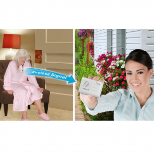 Smart Caregiver Wireless Paging System product page. The image has two sides; the left side shows a woman unable to stand up, about to press her call button which buzzes the pager held by the woman in the right photo.