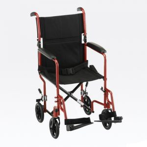 "Transport chair default image. Nova 19"" seat transport chair with a red frame. Black accessories and black 8"" plastic wheels."