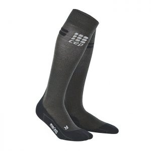 Medi CEP Merino Running active compression stockings. Black with grey accents.