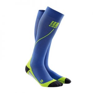 Medi CEP Plus active compression stockings. Blue with green accents.