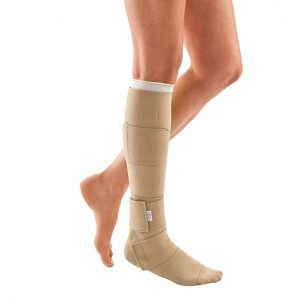 Medi Juxtalite customized compression wraps. A leg model with a pair of beige, knee-high compression wraps.