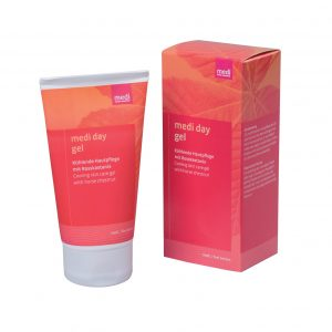 Medi Day Gel. Compression donning aid. Pink and tan tube next to the box it comes in. 50ml size.