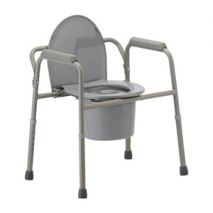 Nova 3 in 1 commode, grey plastic and grey aluminum. A plastic toilet seat are centered over a bucket.