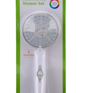 Nova 5 function hand held shower head in a plastic blister pacakage.