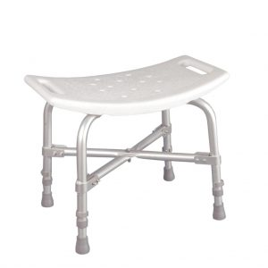 Nova heavy duty, bariatric bath bench. White plastic seat. with silver aluminum reinforced frame.