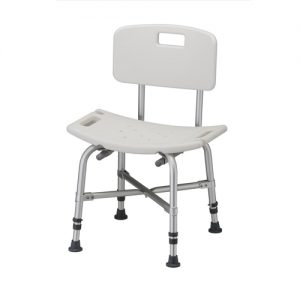 Nova heavy duty, bariatric bath bench with back. White plastic seat and back with silver aluminum reinforced frame.
