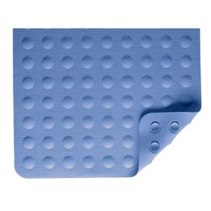 Nova bath mat. A blue rubber mat with suction cups on the bottom and bubble grip grooves on the other.