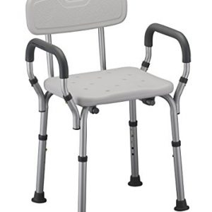 Nova bath seat with adjustable arms and back. White plastic seat and back, grey padding and silver aluminum frame.